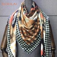 Твил шелковый шарф для женщин решетки шаль с принтом Echarpe Fourlard Femme квадратный шарфы для хиджаб банданы Bufandas Mujer 130*130