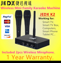 JEDX K2 Wireless Mini Famiglia Casa Karaoke Echo System Singing Machine Box Karaoke Player USB Audio per Android TV Box PC Cellulari