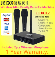 JEDX K2 Wireless Mini Family Home Karaoke Echo System Singing Machine Box Karaoke Players USB Audio for Android TV Box PC Phones