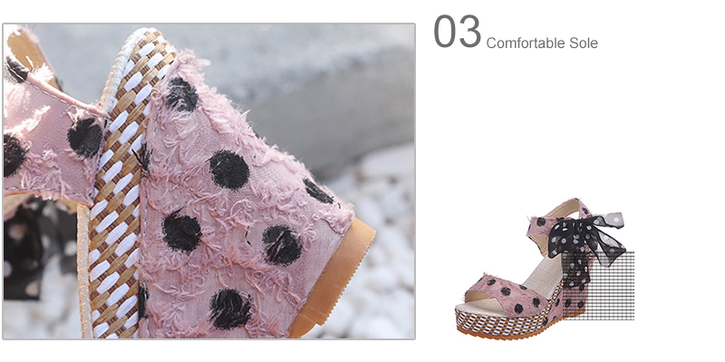 HTB1HBQfXLWG3KVjSZFgq6zTspXaS Women Sandals Dot Bowknot Design Platform Wedge Female Casual High Increas Shoes Ladies Fashion Ankle Strap Open Toe Sandals