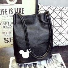 women famous brand New Arrival Mickey Bucket Bag PU Leather Women Zipper Handbag Fashion Lady Shoulder
