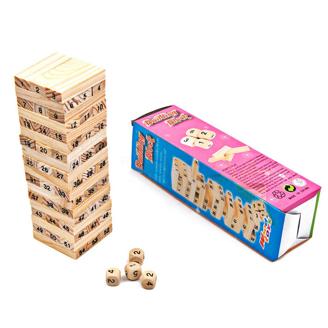2016 New Wooden Tower Wood Building Blocks Toy Domino 54 +4pcs Stacker Extract Building Educational Game Gift