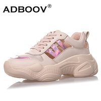 ADBOOV Hollow Breathable Summer Shoes Woman Fashion Platform Chunky Sneakers Women White Pink Schoenen Vrouw