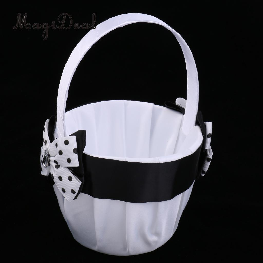 Luxury Vintage Black White Satin Round Basket Crystal Polka Dot Bow