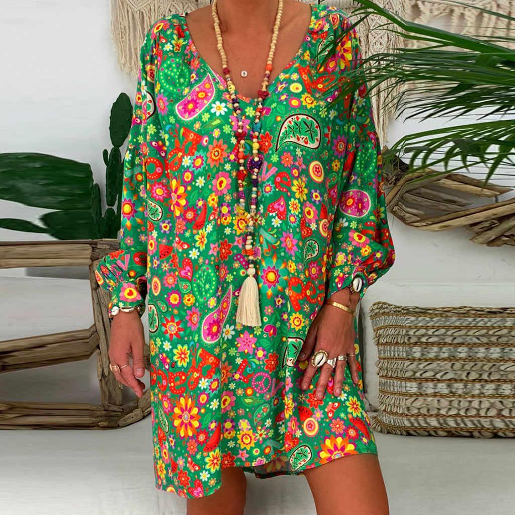 Женские свободные цветочные повседневные летние платья с принтом три четверти