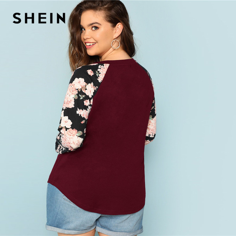 SHEIN Burgundy Plus Size Floral Print Long Raglan Sleeve Women Casual T Shirt  2018 O Neck Autumn Top Tees 2
