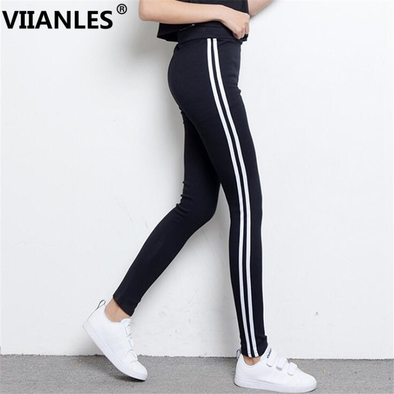 VIIANLES Women White Stripe Side Elastic Waist Gym Workout Pant Sportwear Mujer Fitness Trousers Women Activewear Black Pants