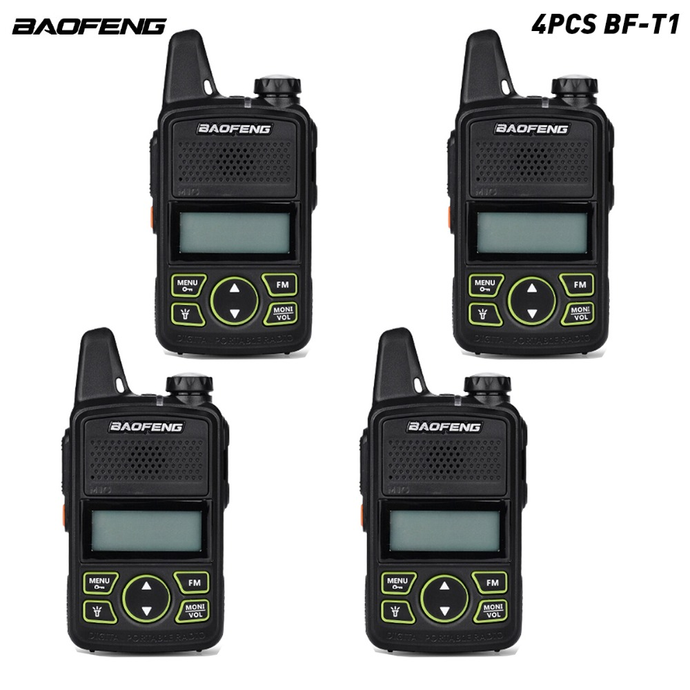 4pcs/lot Original BAOFENG BF-T1 MINI Kids Walkie Talkie UHF Portable Two Way Radio Ham T1 Walkie Talkie USB HF Transceive