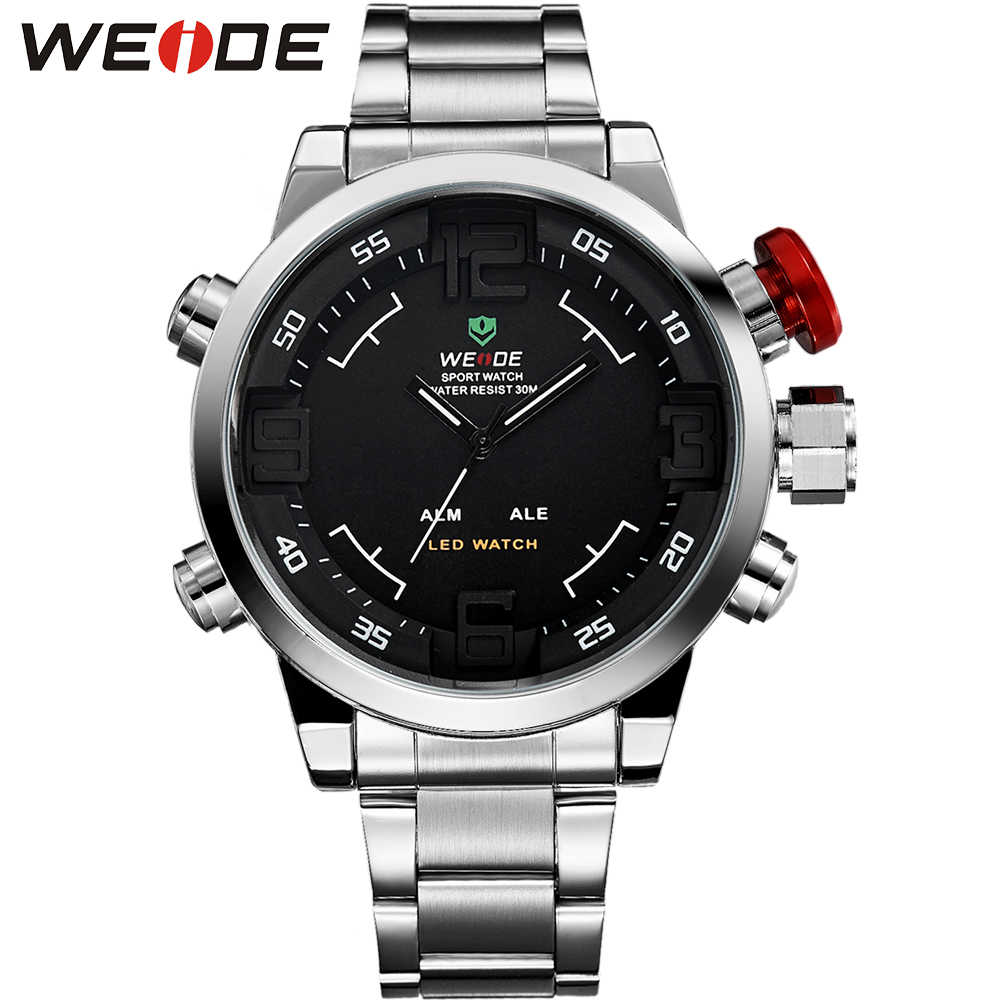 5829d0b2236 WEIDE Watches Men Top Brand Fashion Watch Quartz Stainless Steel Band Male  Clock relogio masculino Army