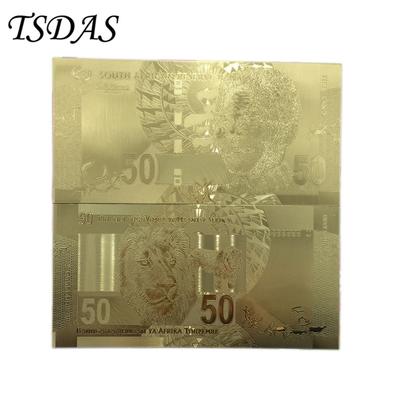Wholesale 50 Rand Gold Banknote South Africa Replica Money As Birthday Gifts For Collection