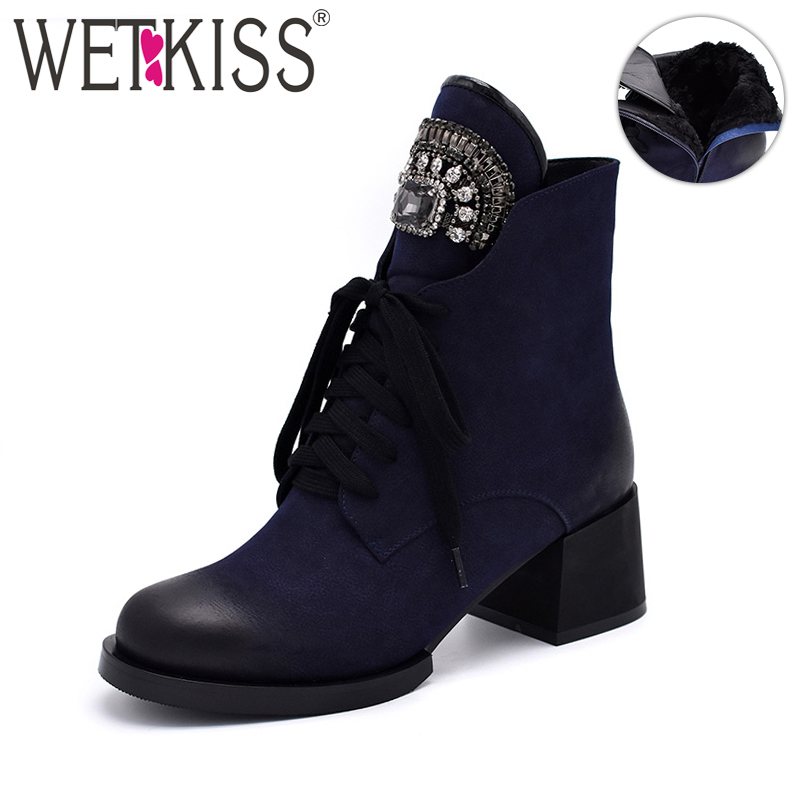 WETKISS Woman Winter Boots Ankle Boot Female Crystal Lace up Female Booties Platform Heels High Plush Footwear Women Boot 2018