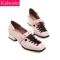 Kahozin summer women shoes pink sandals square heel 4CM PU slip on Nice comfortable shoes woman blue office casual size 33 43