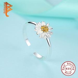Image 5 - BELAWANG juegos de joyas de 100% Plata de Ley 925 auténtica para mujer y niña, flor de Margarita, esmalte blanco, conjuntos de joyas de compromiso para boda