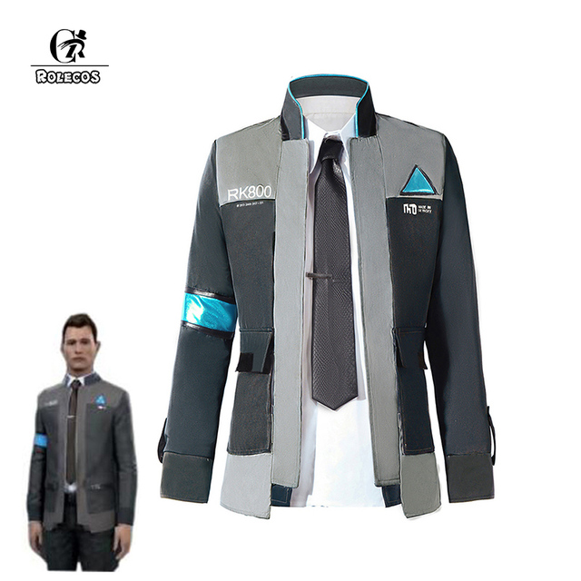 ROLECOS Game Detroit Become Human Cosplay Costumes Connor RK800 Suit Uniform Jacket Shirt Tie for Men Party Cosplay Clothes