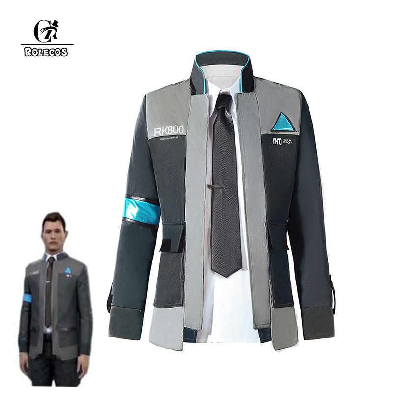 ROLECOS juego de Detroit se convierte en humano Cosplay disfraces traje de uniforme chaqueta camisa corbata para hombres fiesta Cosplay ropa