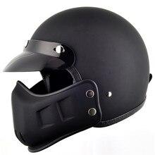 Tt & co открытым лицом мотоциклетный шлем старинные ретро скутер шлемы с ветрозащитный рот персонализированные harley круиз стиль Ml XL XXL