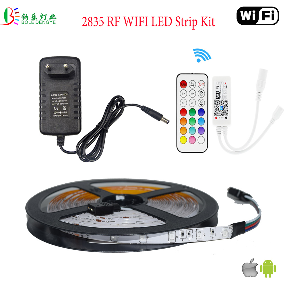 5050 LED Strip RGB Waterproof 60LED/M LED Diode Tape Flexible Light RF WIFI Wireless Control IR Remote RGB Controler LED Adapter 10m 5m 3528 5050 rgb led strip light non waterproof led light 10m flexible rgb diode led tape set remote control power adapter