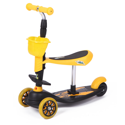 Children's scooter, three wheeled baby slide block, toddler scooter can sit