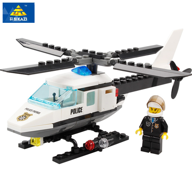KAZI 6729 Police Helicopter Modle Building Blocks 102PCS DIY Bricks Set Educational Toys For Children Compatible Legoe City kazi building blocks police station model building blocks compatible legoe city blocks diy bricks educational toys for children