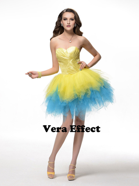 Veraeffect Sweetheart Short Prom Dresses Party 2017 Yellow Blue Mini Quinceanera Dress Custom Made Plus Size