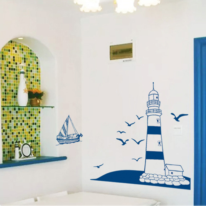 Mediterranean Lighthouse Wall Sticker For Living Room Study Photo Background Home Decoration Mural Art Decals Wallpaper Stickers