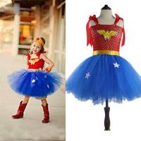 Halloween Girl Wonder Woman Costume Children Super Girl Dress Superhero Costumes For Girls Kids Bubble Skirt