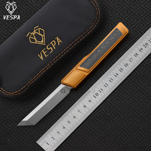 Image 1 - High quality VESPA D2 blade Ripper knife, Handle:7075Aluminum+CF,survival outdoor EDC hunt Tactical tool dinner kitchen knife