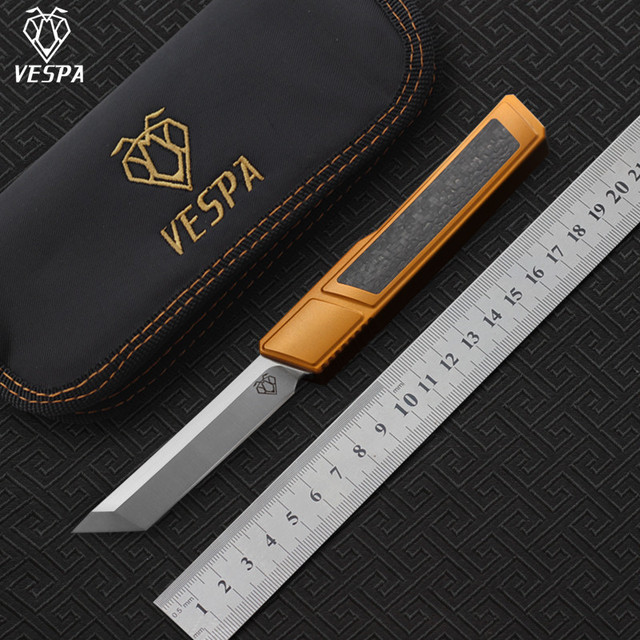 High quality VESPA D2 blade Ripper knife, Handle:7075Aluminum+CF,survival outdoor EDC hunt Tactical tool dinner kitchen knife