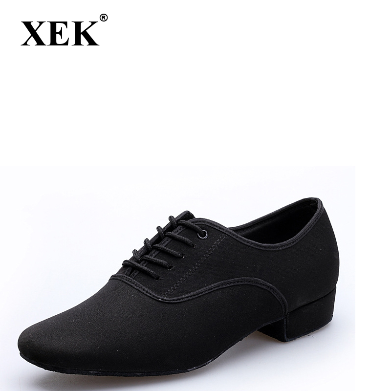 XEK Size Plus Men's Latin Ballroom Dance Shoes Black Canvas Salsa Shoes Plus Size Low Heel Tango Ballroom Dance Shoes GSS09 цены онлайн