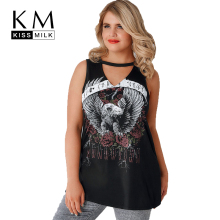 цена на Kissmilk 2017 Fashion Women Clothing Plus Size V-neck Sleeveless Top Tee Back Cut Out Graphic Print Big Size T-shirt 3XL-7XL