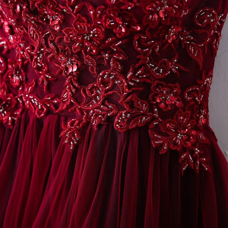 Fête Robe Robes Conception Tenue Avec Une De Burgundy 2019 Épaule Tulle Photo Soirée Perles Bourgogne Réel b7vYy6fg