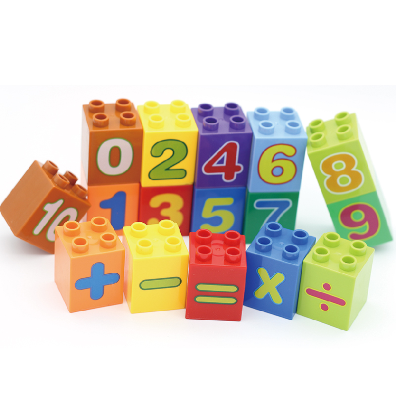 4 dots Square Big Particles Building Blocks accessory Multicolor number Set Bricks Kids education DIY Toys Compatible with Duplo free shipping happy farm set 1 diy enlighten block bricks compatible with other assembles particles