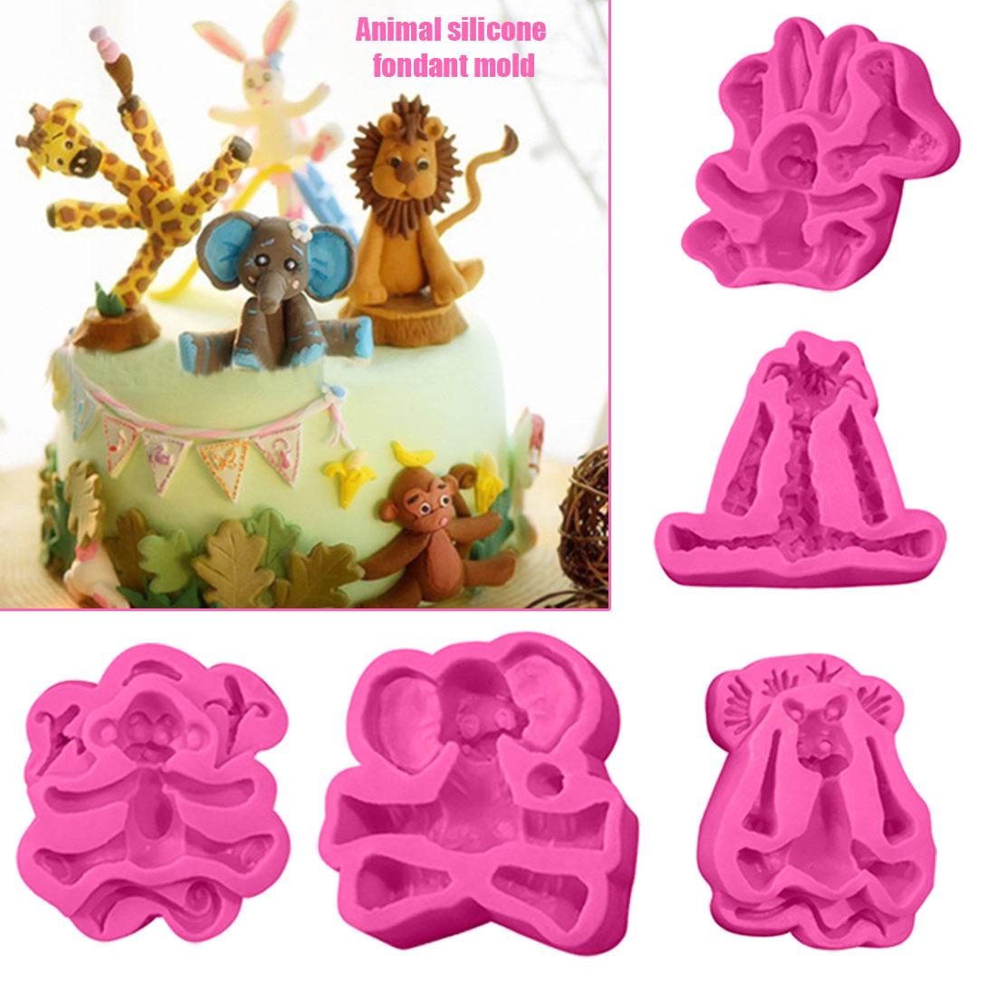 Animals Sugar Craft Chocolate Cake Fondant Silicone Mold Elephant Giraffe Lion Rabbit Monkey Mold DIY Cake Decorating Tools