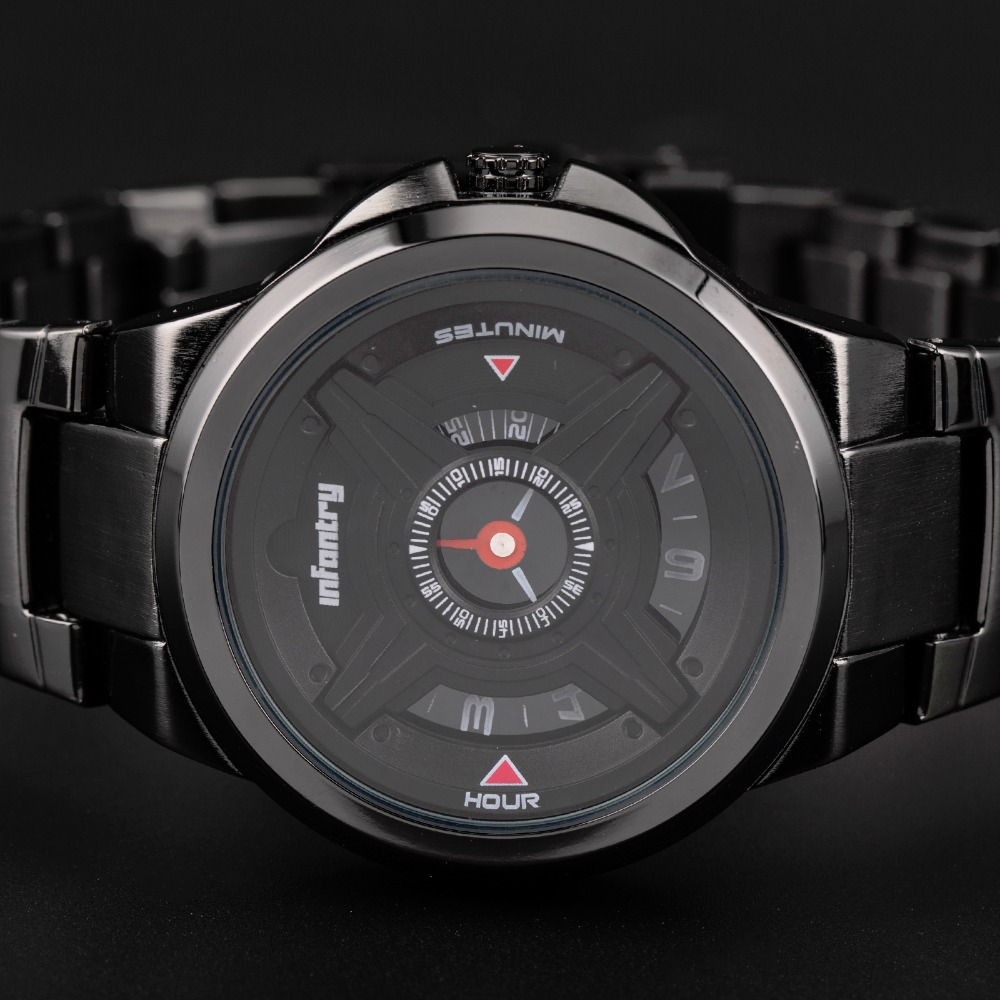 INFANTRY Heren Quartz Horloges Luxe Sport Army Analoog Horloges Zwart - Herenhorloges - Foto 3