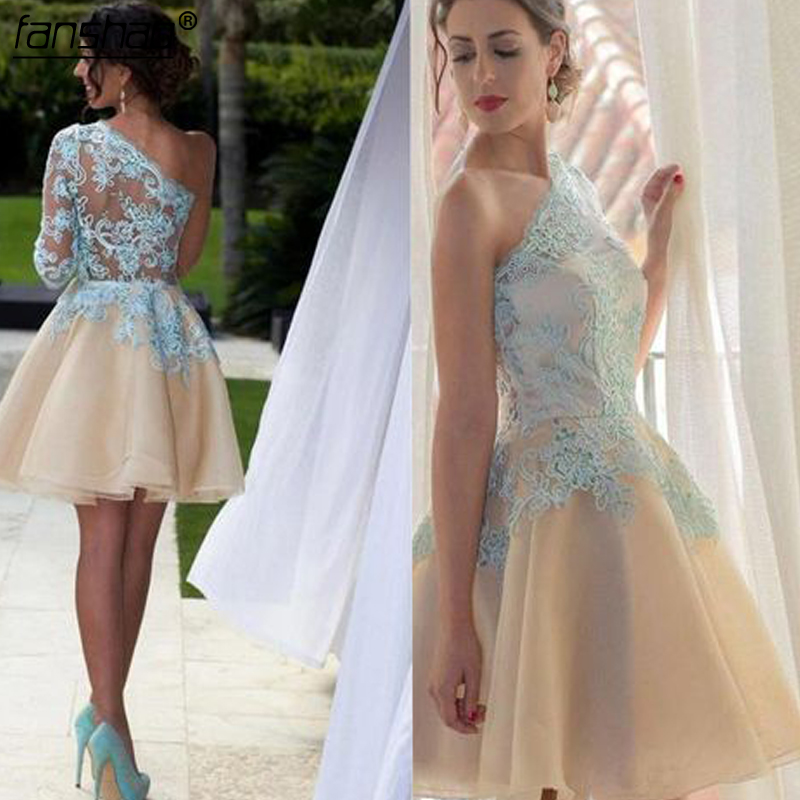 Sky Blue Homecoming Dresses One Shoulder A-line Champagne Tulle Lace Applique Bead Knee-Length Illusion Elegant Cocktail Dresses