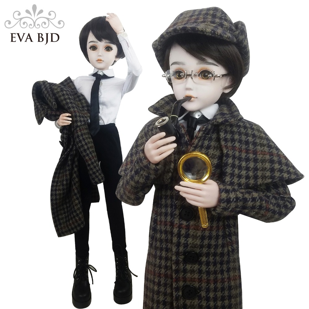 24 24 inch Full Set SD Doll 60cm Detective Men Boy 1/3 jointed dolls Sherlock Holmes BJD Toy Action Figure + Clothes + Makeup 24 full set bjd doll devil manager men chinese manager ball jointed dolls sd doll toy boyfriend boy gift for boy children