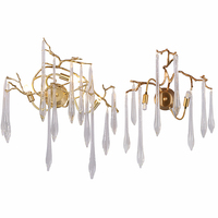 American copper crystal tree branch wall lamps living room bedroom bedside hallway hallway stairs