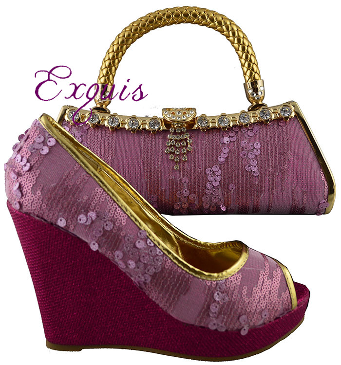 ФОТО Fashion design african italian design shoes and matching bags for wedding party,1308-L20 Pink+fuchsia color 38-42