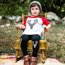 2 Pieces  Sets Baby Boy Girl  Cotton Deer T-shirt  Black Pants Toddler Clothes Set Outfits 1-2 Years red white