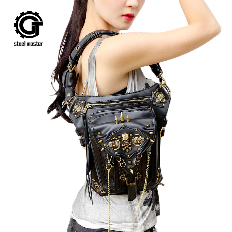 Steampunk Skull Waist Bag Personality 2019 New Fashion Gothic Female Men Women Black PU Leather Messenger