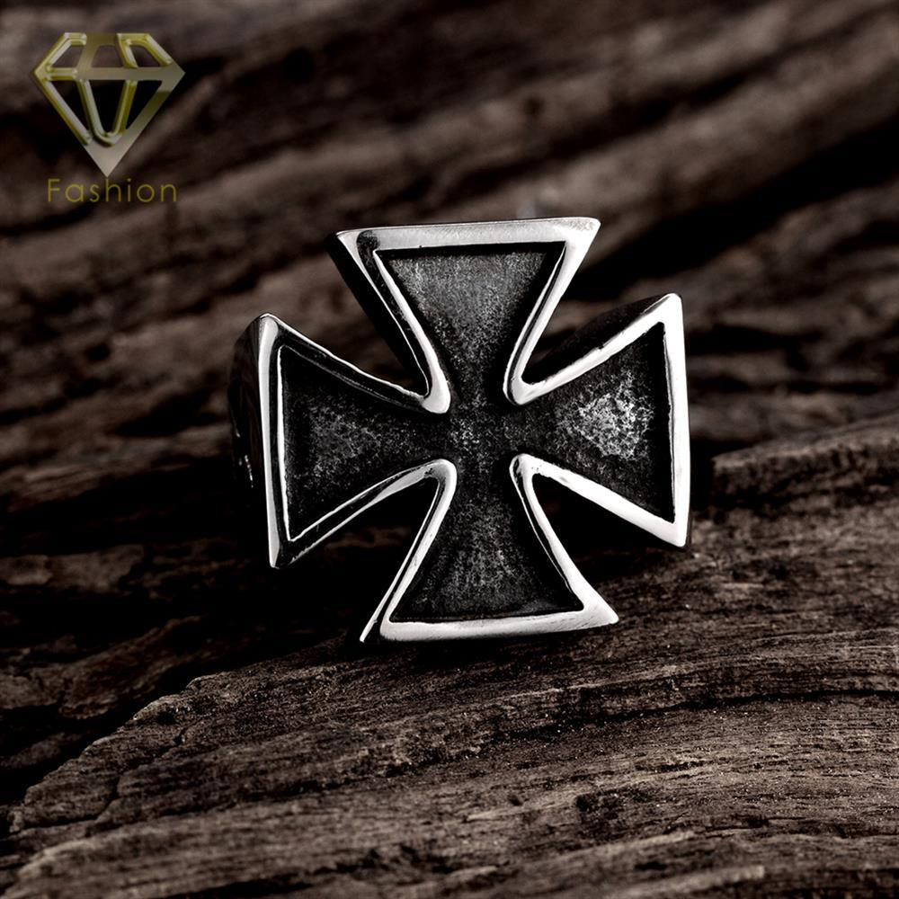 Make Your Own Ring Punk Style Black Cross Shaped 316L Stainless Steel Motorcycle Biker Finger Rings Cool Jewelry for Men Party