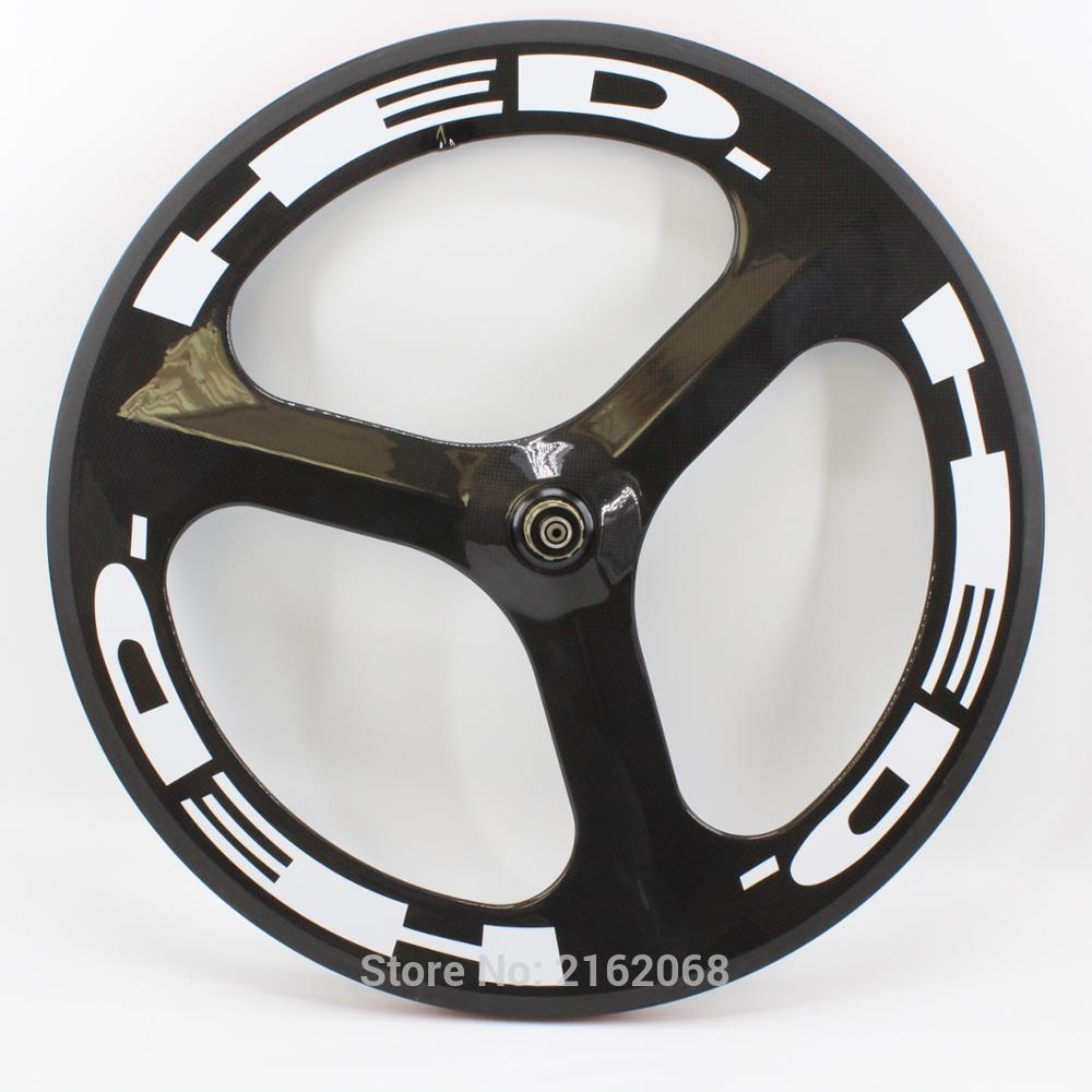 New 700C Road Track Fixed Gear bike 3K UD 12K full carbon bicycle wheelset 3 spokes