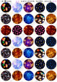 (35 pieces/lot) 16mm round Pattern cabochon mix sky/star/planet/universe image glass cabochon blank pendant cover xl9941