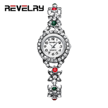 купить REVELRY Ladies Wrist Watches Dress Silver Watch Women Diamond Quartz Watches Fashion Elegant Bracelet Clock Women Montre Femme дешево