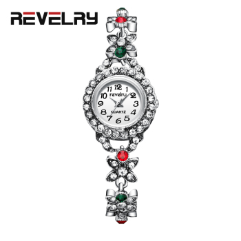 цена на REVELRY Ladies Wrist Watches Dress Silver Watch Women Diamond Quartz Watches Fashion Elegant Bracelet Clock Women Montre Femme