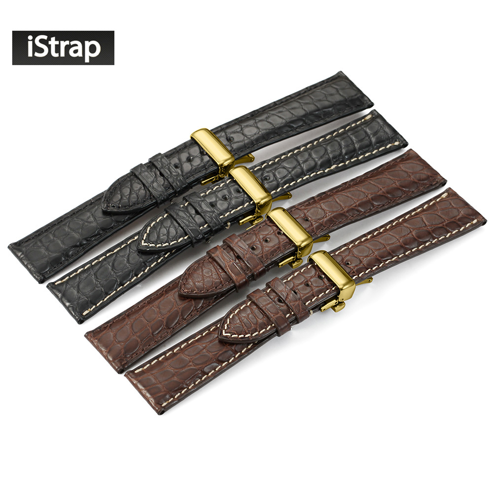 iStrap Watchband 18mm 19mm 20mm 21mm 22mm Crocodile Leather Watch Strap Replacement Band With Golden Deploymen For Men Women women crocodile leather watch strap for vacheron constantin melisa longines men genuine leather bracelet watchband montre