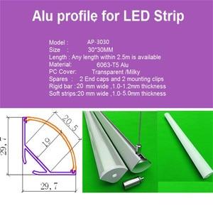 Image 3 - 5 30 stks/partij 40 inch 1 m 45 graden hoek hanger aluminium profiel voor dubbele rij led strip, milky/transparant deksel voor 20mm pcb