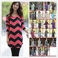 47 diseños de Las Mujeres otoño invierno vestido Suelto de manga larga moda casual mini vestidos Impreso grande más el tamaño XXXL