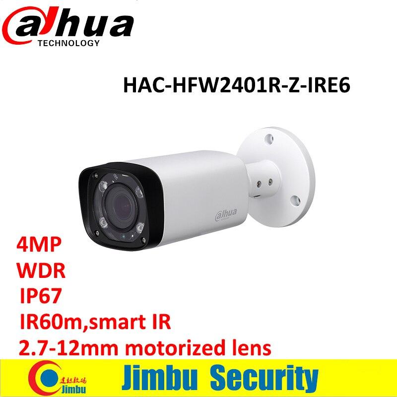 Dahua varifocal lens WDR HDCVI Bullet Camera HAC-HFW2401R-Z-IRE6 4MP 2.7-12mm motorized lens IR length 60m Smart IR 120dB IP67