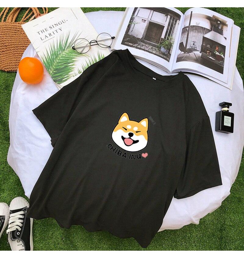 Shiba T Shirt Women Summer Kawaii Funny Cartoon Tee Shirt Femme Korean Fashion Clothes Casual Streetwear Harajuku Camiseta Mujer (7)